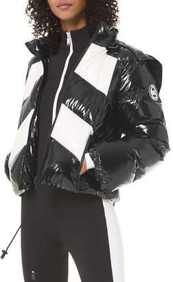 MICHAEL Michael Kors Color-Blocked Ciré Hooded Down Coat