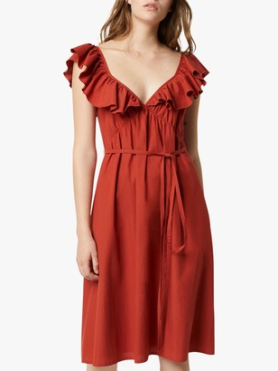 French Connection Azana Cotton Poplin Tie Waist Dress, Red Ochre