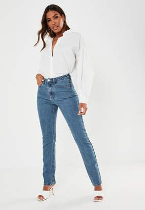 Missguided Blue Slim Straight Highwaisted Jeans