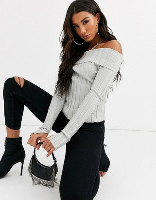 Parallel Lines off shoulder knitted top in rib