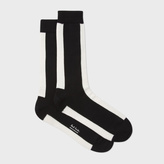 Paul Smith Men's Off-White And Black Mono-Stripe Socks