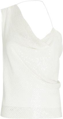 Cushnie Sequined Asymmetrical Silk Top
