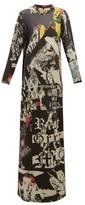 Marques Almeida Marques'almeida - Newspaper-print Cotton-terry Maxi Dress - Womens - Multi