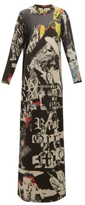 Marques Almeida Marques'almeida - Newspaper-print Cotton-terry Maxi Dress - Womens - Multi