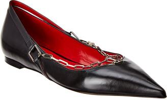 Valentino Chain Detail Leather Ballerina Flat