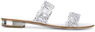 Casadei rhinestone flat sandals