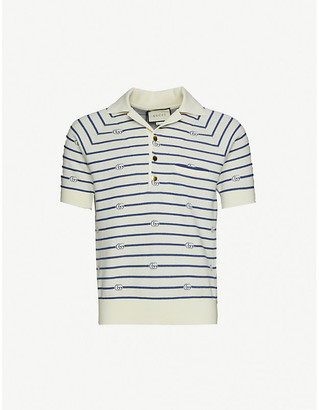 Gucci Logo-print cotton and wool-blend polo shirt
