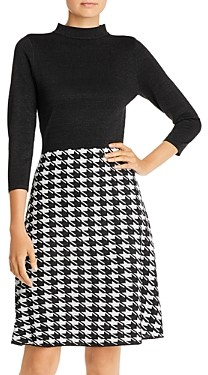 Nanette Lepore nanette Houndstooth Combo Fit and Flare Dress