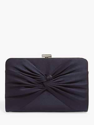 Phase Eight Kendall Satin Knot Front Clutch Bag, Navy