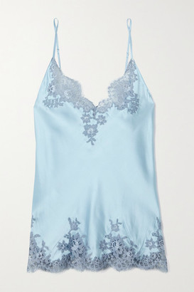 I.D. Sarrieri Hotel Particulier Chantilly Lace-trimmed Silk-blend Satin Camisole - Sky blue