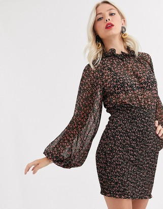 C/Meo Collective longevity mini dress with volume sleeve-Black