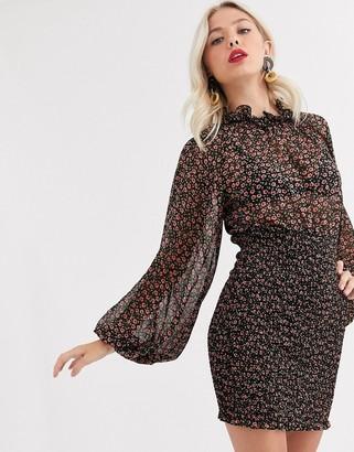 C/Meo longevity mini dress with volume sleeve