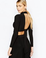 Love High Neck Crop Top With Open Back and Long Sleeves