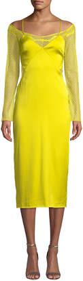 Cushnie Lace-Sleeve Satin Slip Dress