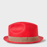 Paul Smith Men's Red Woven Trilby Hat