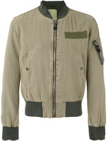 R 13 frayed cuffs bomber jacket - men - Cotton/Hemp - L