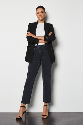 Karen Millen High Rise Grey Straight Jeans