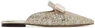 Jimmy Choo Gold and White Coarse Glitter Galaxy Mules