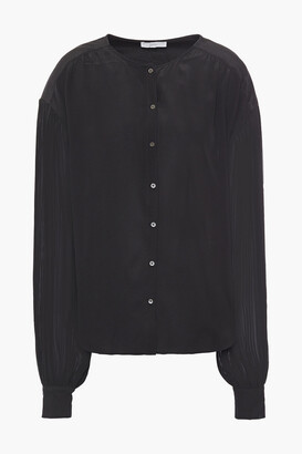 Joie Kevia Pleated Crepon-paneled Silk Crepe De Chine Blouse