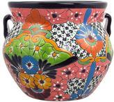 Talavera Style Ceramic Handcrafted 13 Inch Flower Pot, 'Guanajuato Garden'