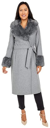 Via Spiga 3/4 Length Faux Fur Shawl Collar Coat with Faux Fur Cuffs (Charcoal) Women's Clothing