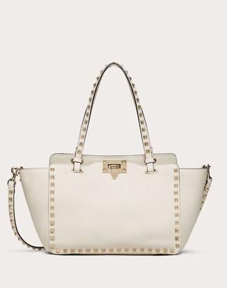 Valentino Garavani Small Grain Calfskin Leather Rockstud Bag Women Light Ivory Calfskin 100% OneSize