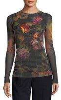Fuzzi Long-Sleeve Embroidered Menswear Gardenia Floral Tulle Tee