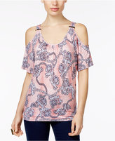 Thalia Sodi Printed Cold-Shoulder Top, Only at Macy's