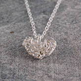 Otis Jaxon Silver Jewellery Mesh Sterling Silver Heart Necklace