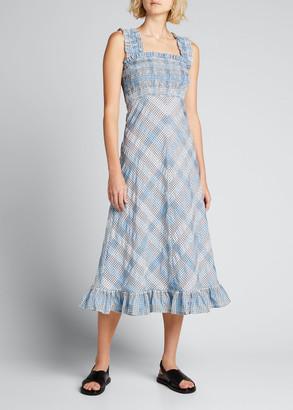 Ganni Seersucker Check Smocked Ruffle Dress