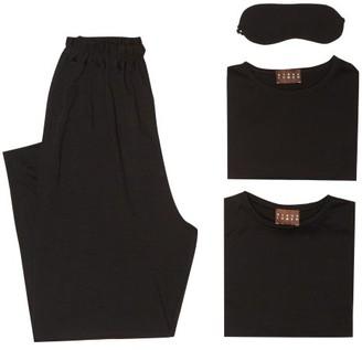ALBUS LUMEN Merino-wool Jersey Travel Set - Black