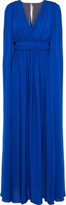 Marchesa Cape-back Pleated Silk-chiffon Gown