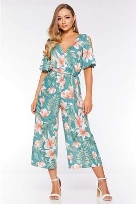 Quiz Green and Coral Tropical Cold Shoulder Jumpsuit