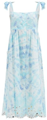 Juliet Dunn Floral-embroidered Tie-dyed Cotton Midi Dress - Blue White