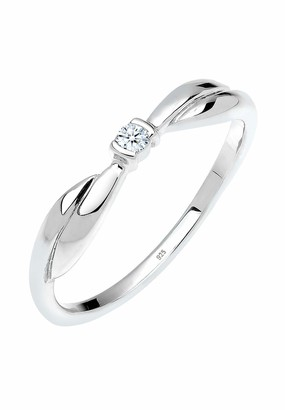 Diamore Women's 925 Sterling Silver 0.03 ct Xilion Cut White Diamond Engagement Ring Size P