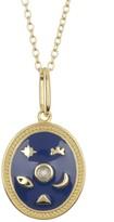 Argentovivo 18K Gold Plated Sterling Silver Celestial Enamel Pendant Necklace