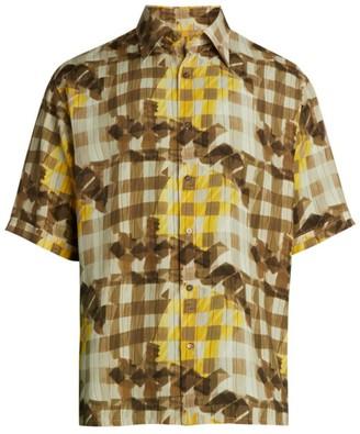 Fendi Grid Print Viscose Shirt