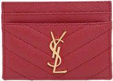 Saint Laurent Quilted Monogram Leather Card Holder