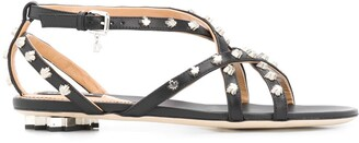 DSQUARED2 Maple Leaf Studded Flat Sandals