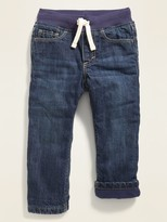 UNACOO Girls Flannel Lined Jeans with Stretch Straight Leg