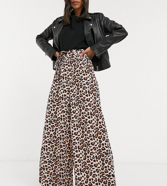 Verona wide leg pants with belted waist in leopard print
