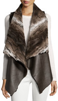 Neiman Marcus Faux Chinchilla Fur-Trimmed Vegan Leather Vest, Brown