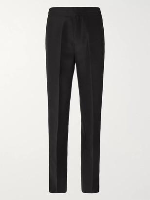 Dunhill Black Wide-Leg Split-Hem Silk And Virgin Wool-Blend Trousers