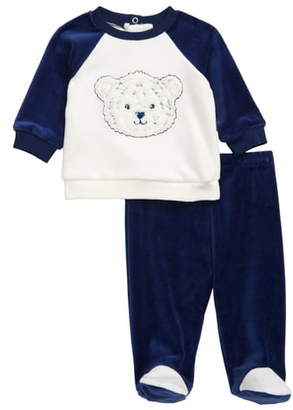 Little Me Tiger Velour Sweatshirt & Footed Pants Set