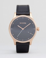 Nixon Station Leather Watch In Black & Rose Gold