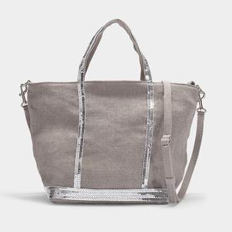 Vanessa Bruno Petit Cabas Tote In Grey Linen And Sequins