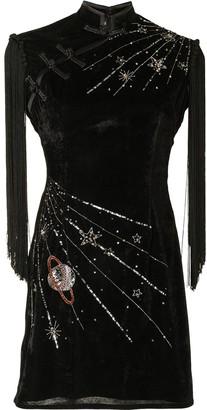 Lisa Von Tang Embellished Celestial-Motif Mini Dress