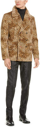 Tallia Men Slim-Fit Tan & Black Cheetah Print Velvet Double Breasted Peacoat