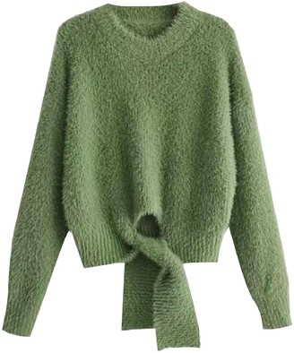Goodnight Macaroon 'Benny' Tied Front Mohair Sweater (2 Colors)