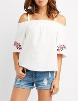 Charlotte Russe Embroidered Cold Shoulder Top